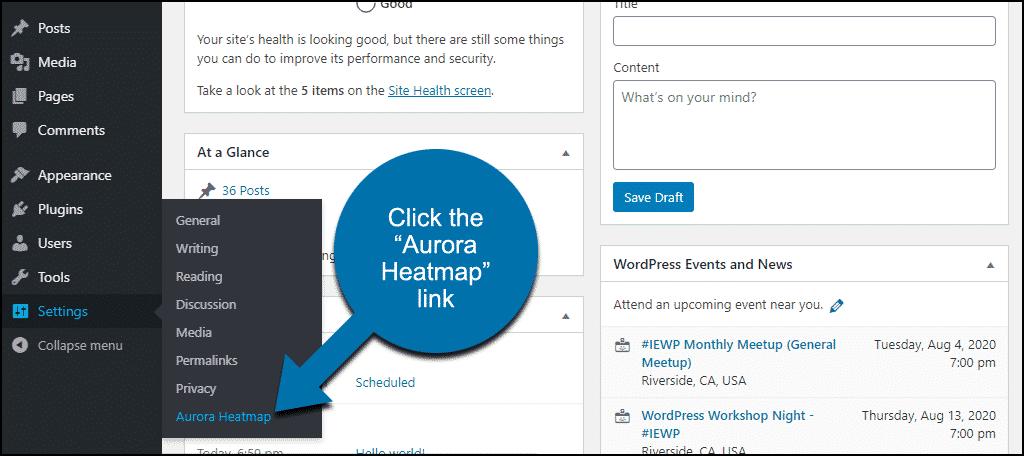 """click the """"Aurora Heatmap"""" link"""