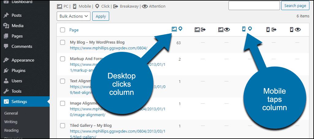 desktop clicks and mobile taps