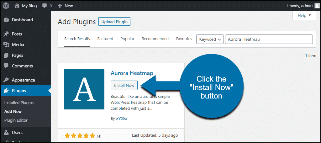 click to install the WordPress Aurora Heatmap plugin
