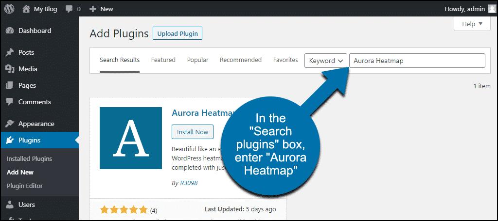 search for the WordPress Aurora Heatmap plugin