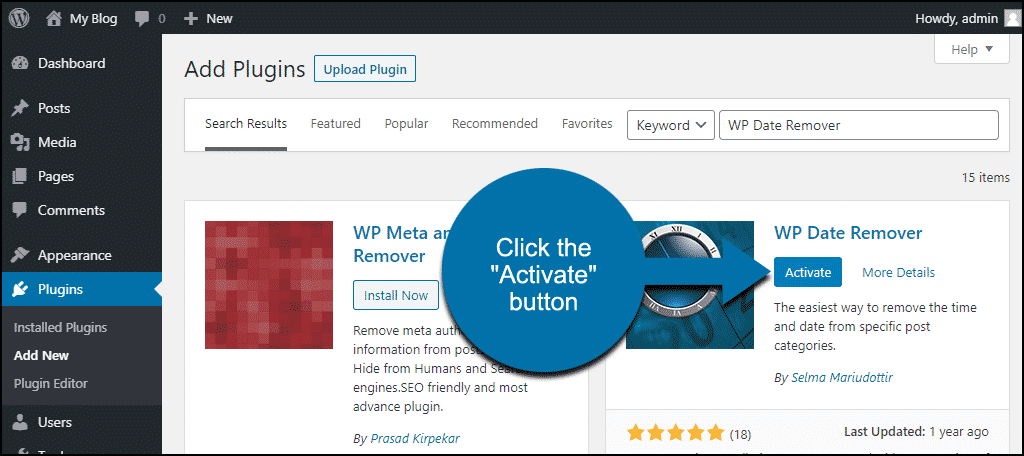 click to activate the WordPress WP Date Remover plugin