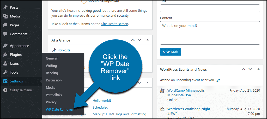 """click the """"WP Date Remover"""" link"""
