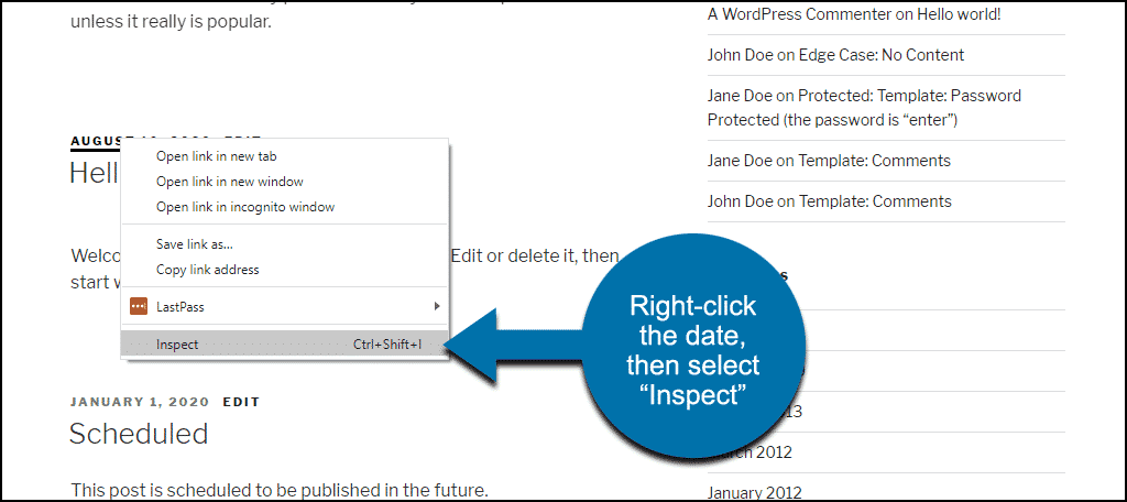 """right-click date and select """"Inspect"""""""