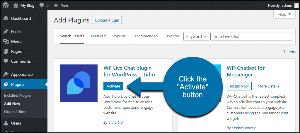 click to activate the WordPress Tidio Live Chat plugin