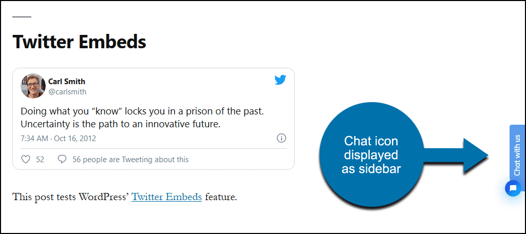Tidio WordPress plugin chat link as sidebar