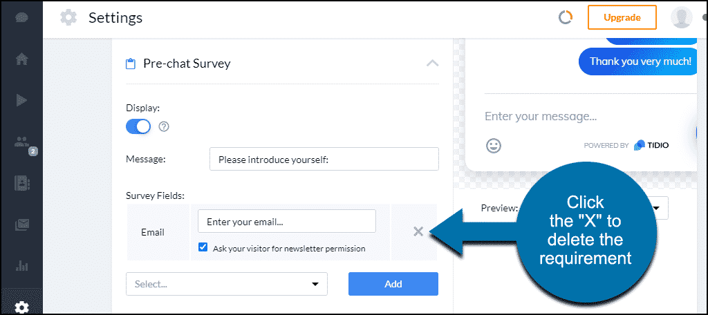 Tidio WordPress plugin pre-chat survey disable email