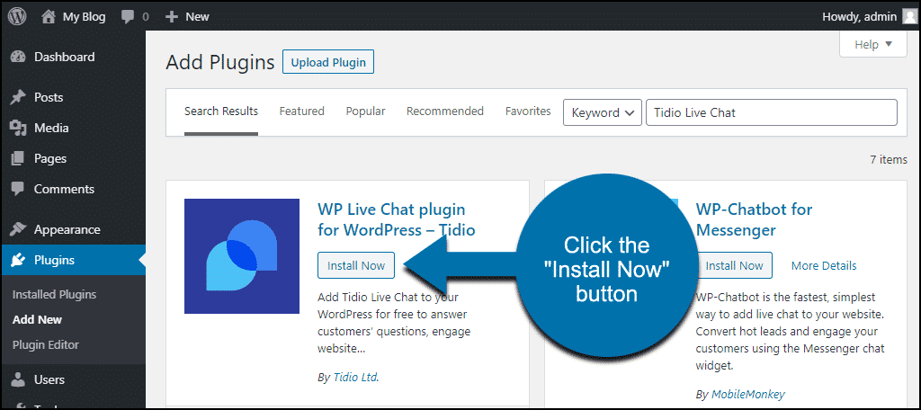click to install the WordPress Tidio Live Chat plugin