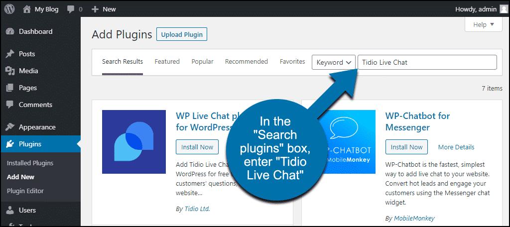 search for the WordPress Tidio Live Chat plugin