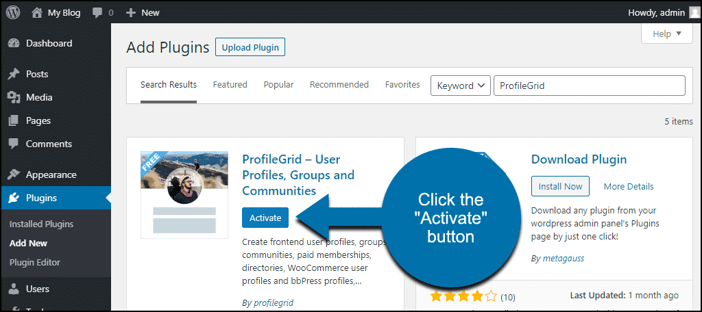 click to activate the WordPress ProfileGrid plugin