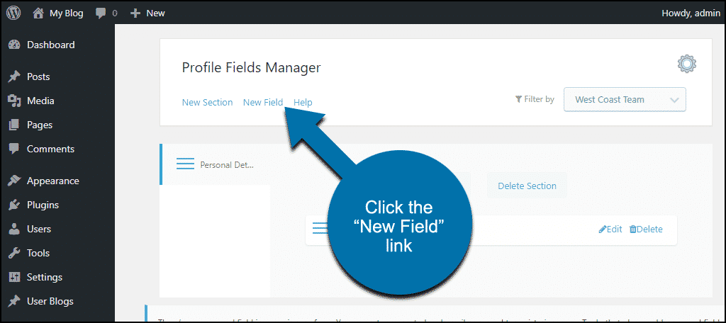 "ProfileGrid WordPress plugin click the ""New Field"" link"