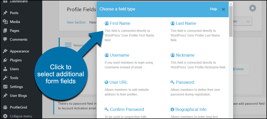 ProfileGrid WordPress plugin additional form fields