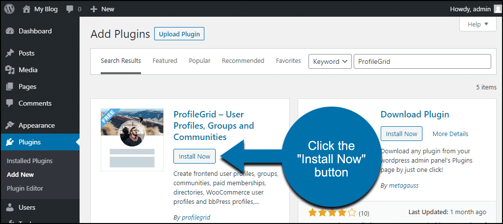 click to install the WordPress ProfileGrid plugin