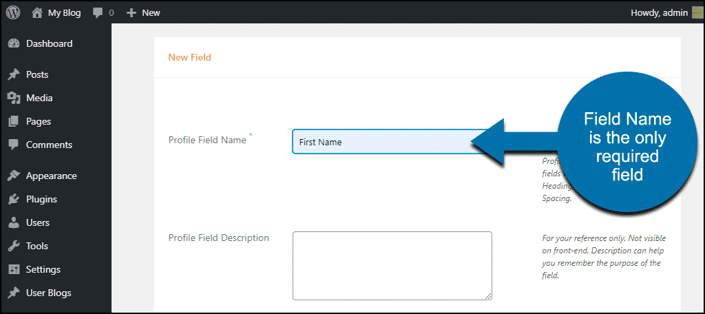 ProfileGrid WordPress plugin required form field