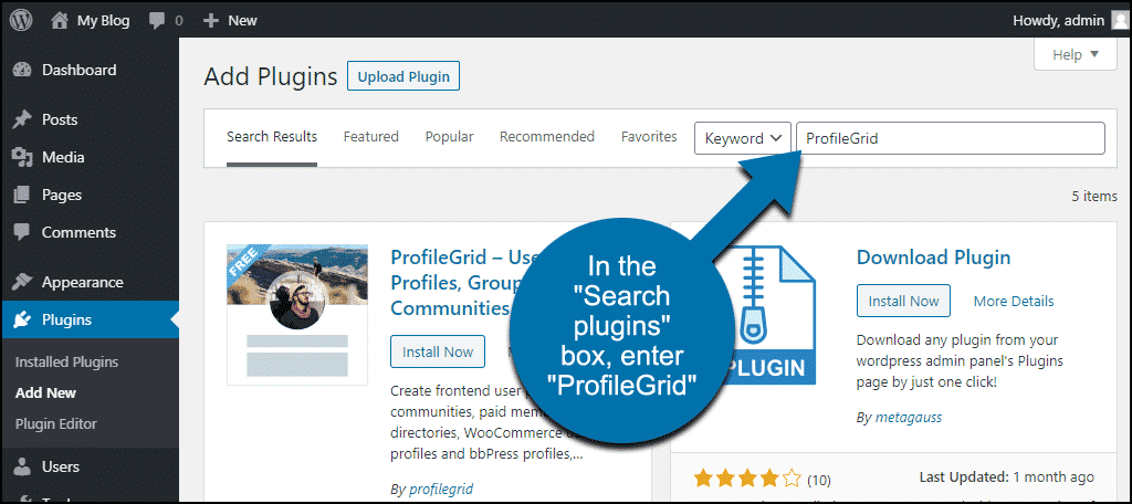 search for the WordPress ProfileGrid plugin