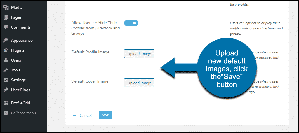 "ProfileGrid WordPress plugin ""Default Profile Image,"" and ""Default Cover Image"" sections"