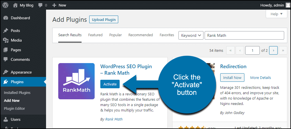 click to activate the WordPress Rank Math plugin