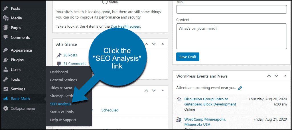 "Rank Math WordPress plugin click the ""SEO Analysis"" link"