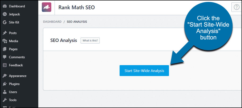 "Rank Math WordPress plugin click the ""Start Site-Wide Analysis"" button"