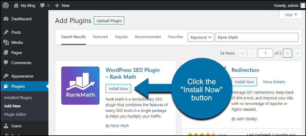 click to install the WordPress Rank Math plugin