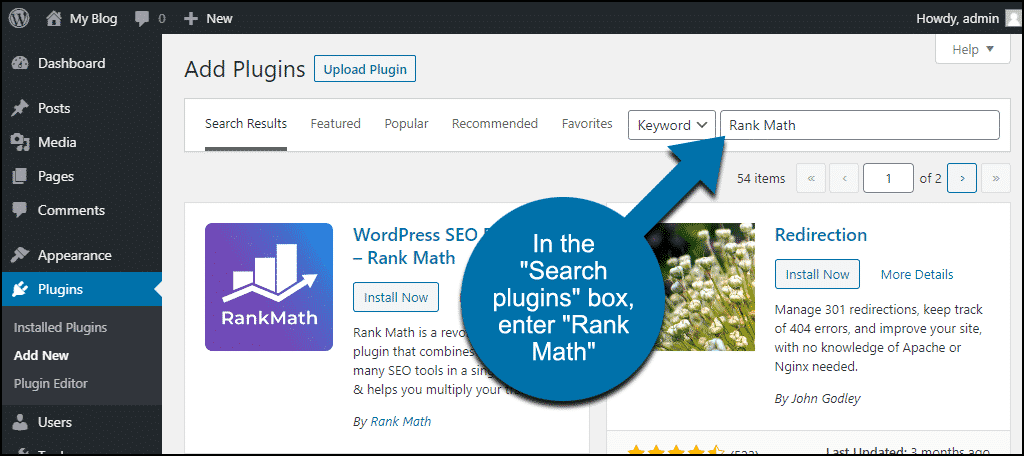 search for the WordPress Rank Math plugin