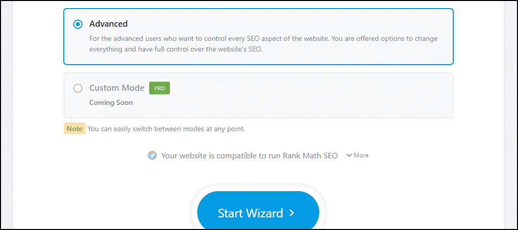"Rank Math WordPress plugin easy configuration click the ""Start Wizard"" button"