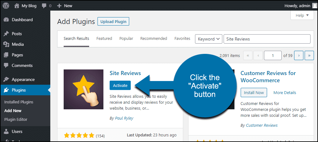 click to activate the WordPress Site Reviews plugin