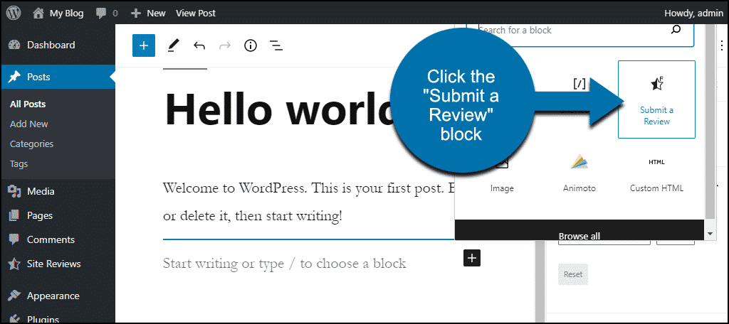 """Submit a Review"" block selector"