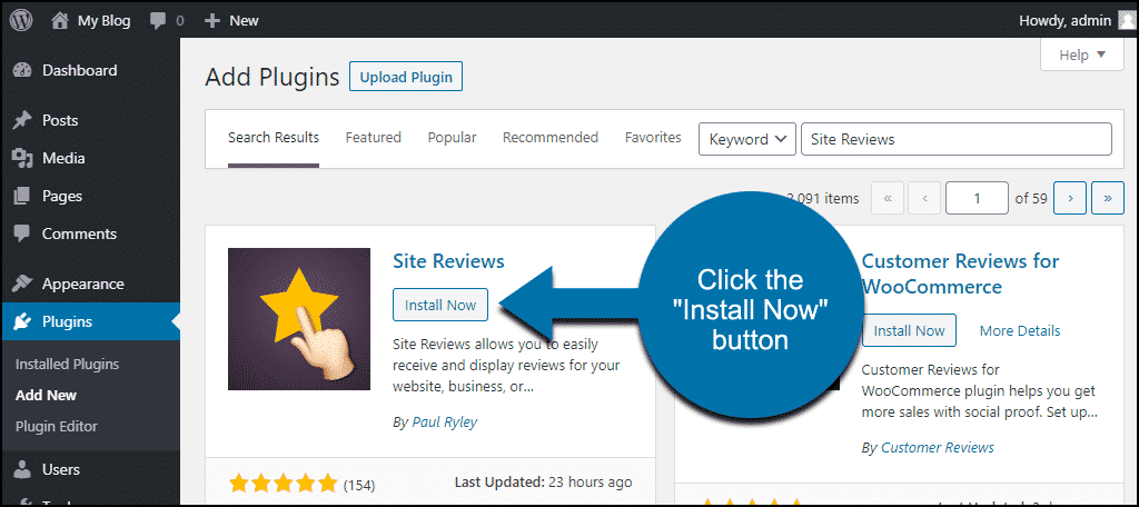 click to install the WordPress Site Reviews plugin
