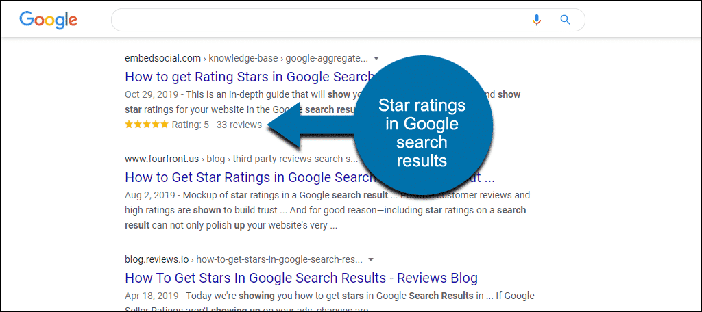 stars in Google search results