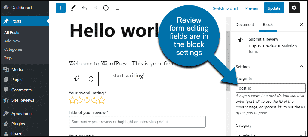 review form visible in editor