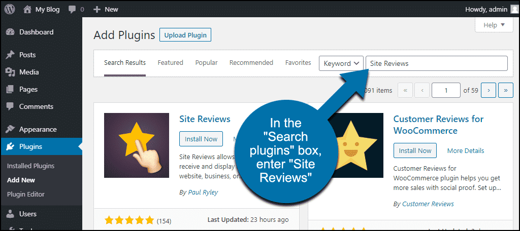 search for the WordPress Site Reviews plugin