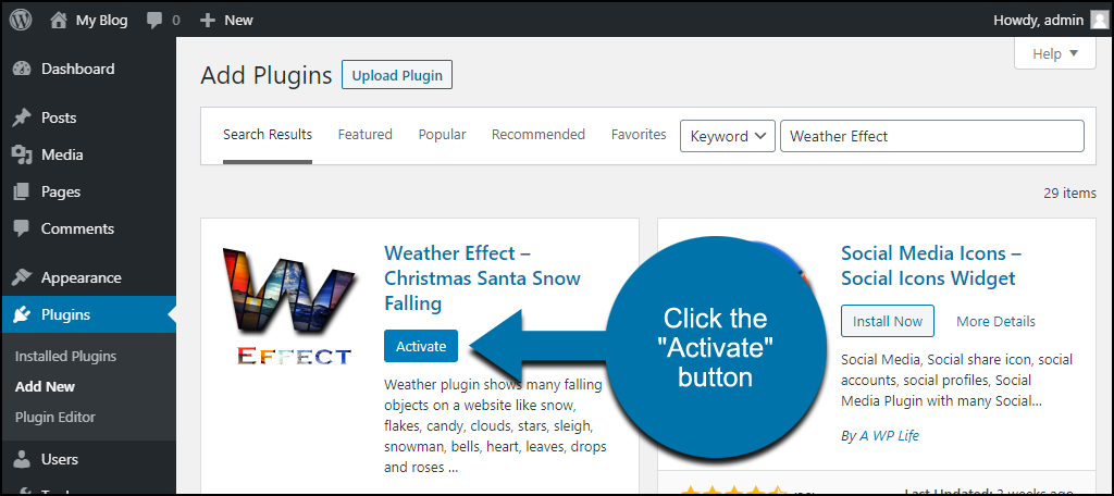 click to activate the WordPress Weather Effect plugin