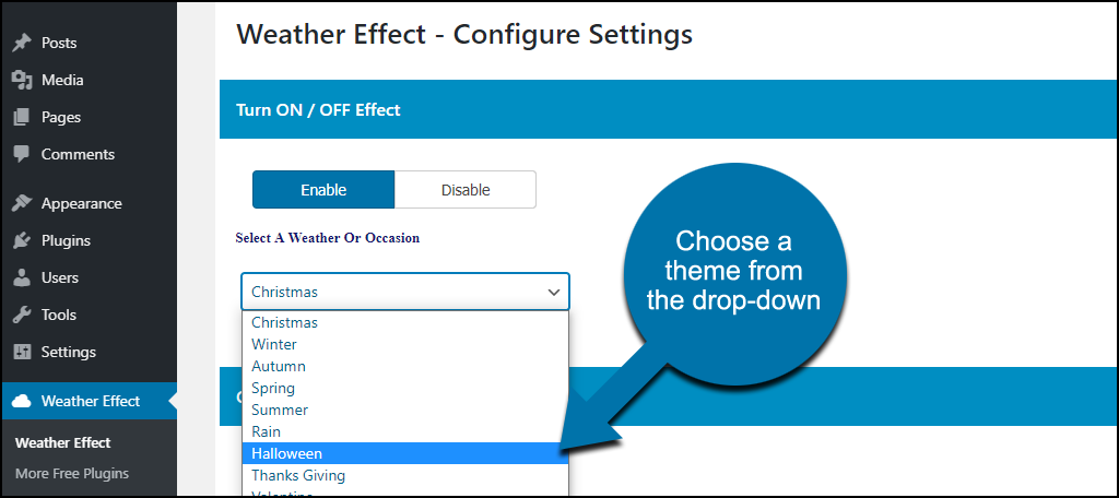 Weather Effect WordPress plugin enable/disable