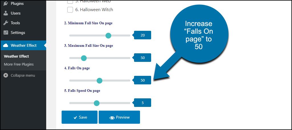 """Weather Effect WordPress plugin increase """"falls on page"""""""