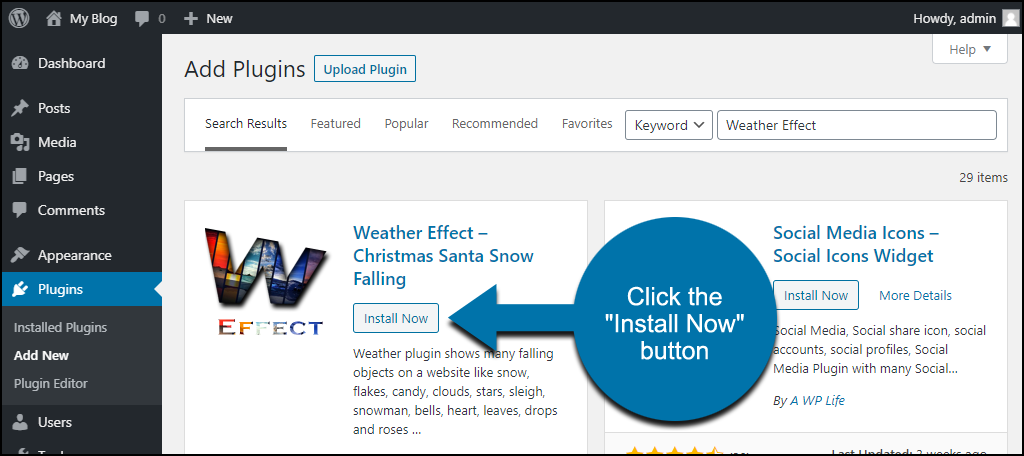 click to install the WordPress Weather Effect plugin