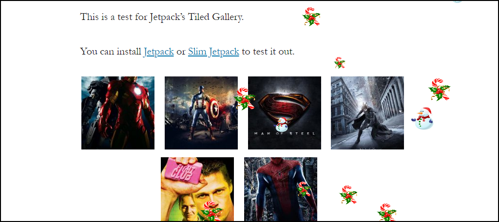 Weather Effect WordPress plugin Christmas candy and snowmen on page