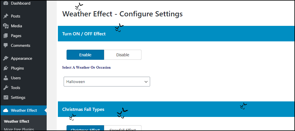 Weather Effect WordPress plugin preview on settings page
