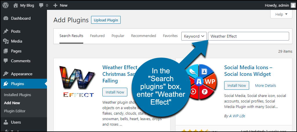search for the WordPress Weather Effect plugin