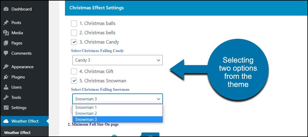 Weather Effect WordPress plugin Christmas candy and snowmen