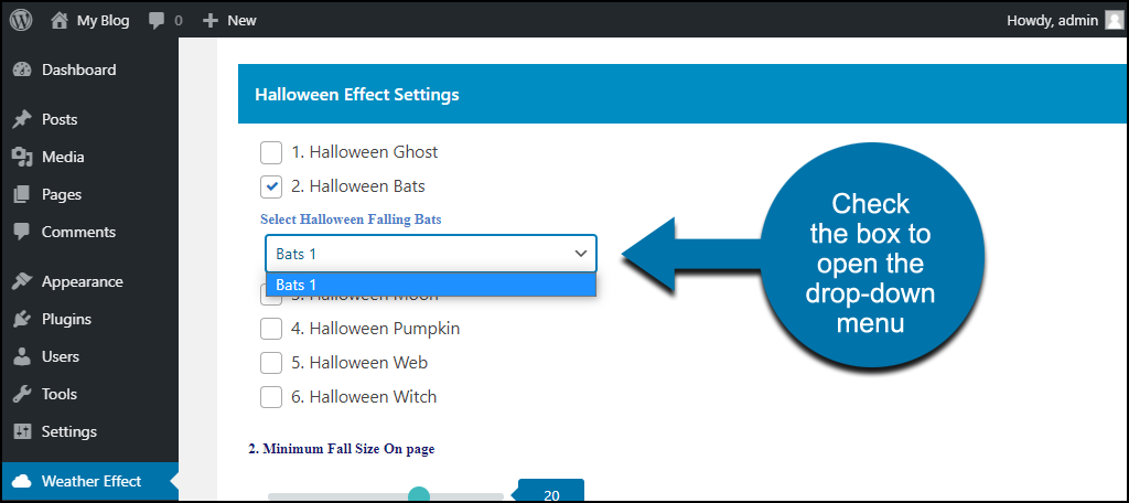 Weather Effect WordPress plugin drop-down with single option