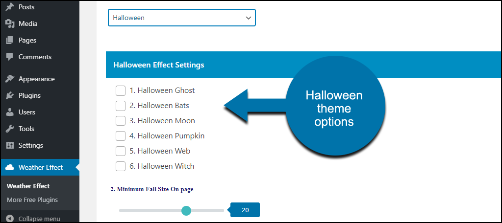 Weather Effect WordPress plugin Halloween options