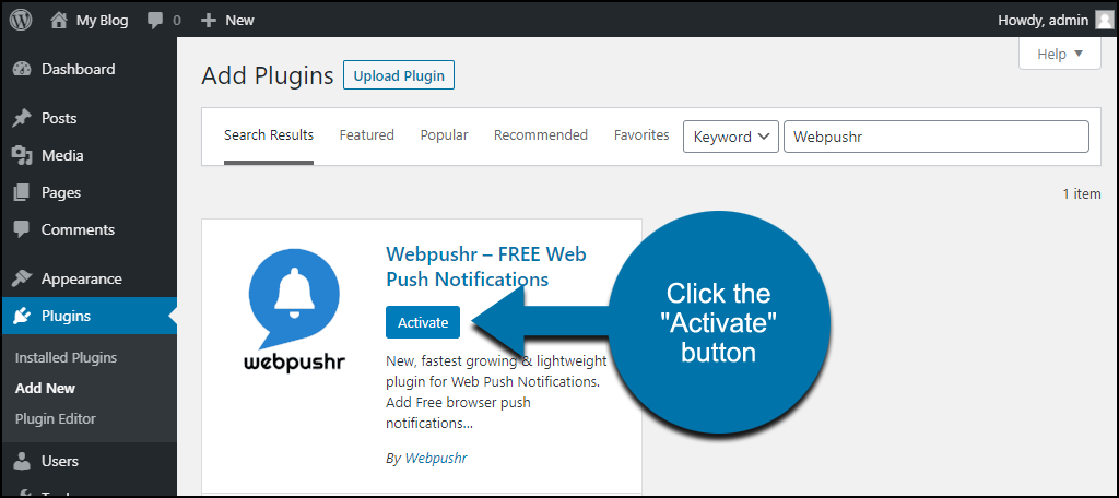 click to activate the WordPress Webpushr plugin