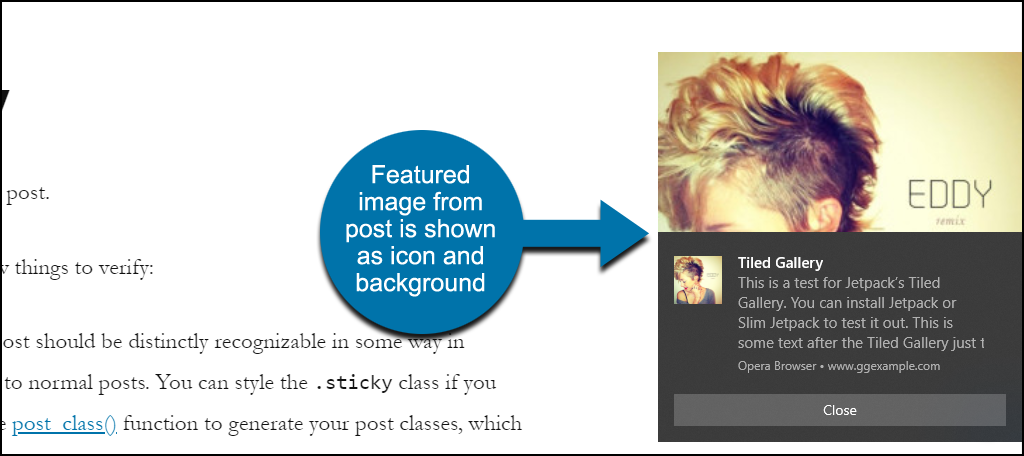 Webpushr WordPress plugin featured image notification
