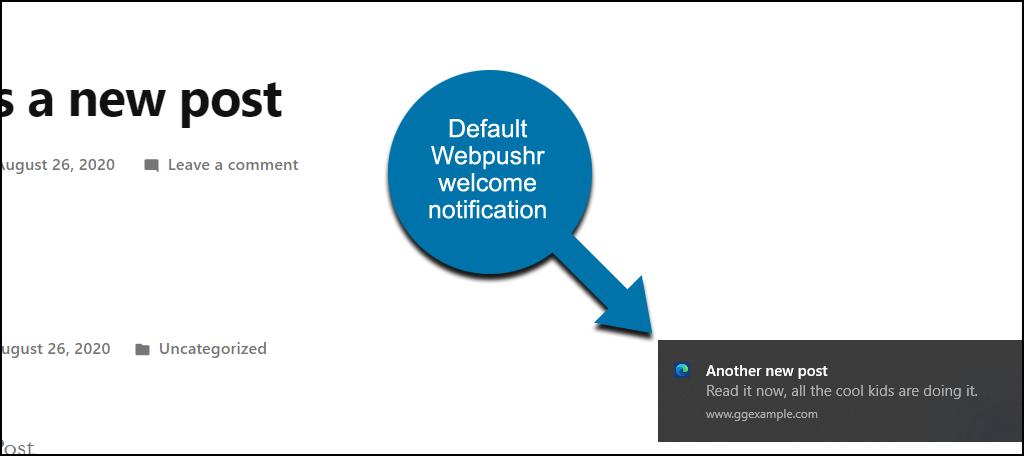 Webpushr WordPress plugin new post notice