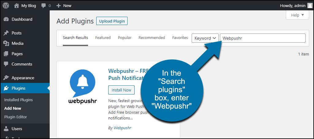 search for the WordPress Webpushr plugin