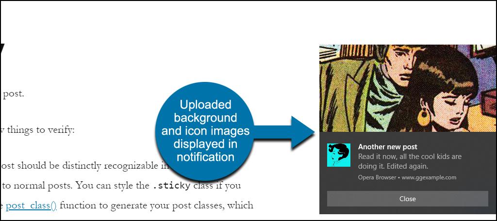Webpushr WordPress plugin no featured image