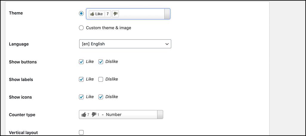 Choose LikeBtn theme and language
