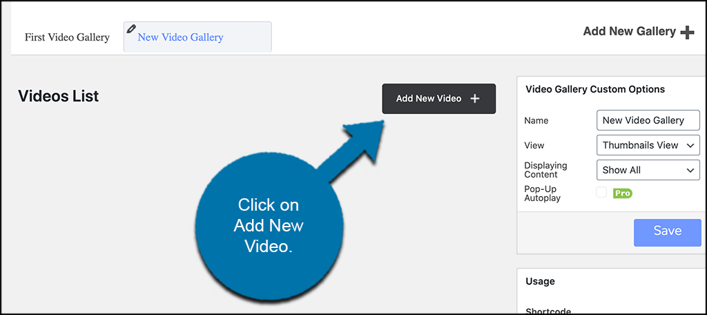 Click on ad new video button