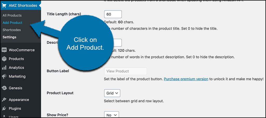 Click add product
