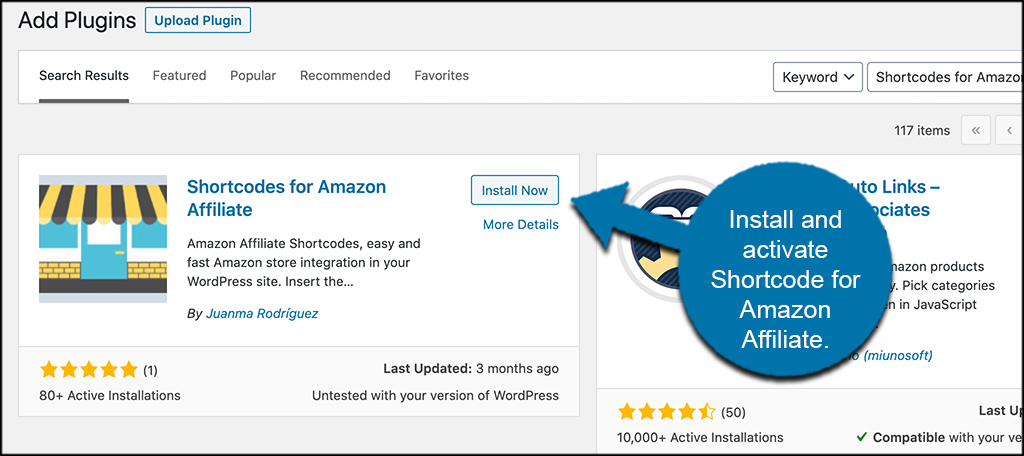 Indstall and activate amazon affiliate plugin